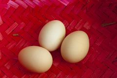Three big chicken eggs Royalty Free Stock Image