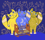Three big fairy cats lull a small child. Lullaby background. Three big fairy cats lull a small child Royalty Free Stock Photo