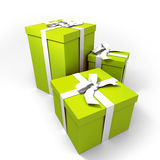 Three big green presents Royalty Free Stock Images