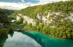 Three big lakes in Plitvice National Park canyon Royalty Free Stock Photos