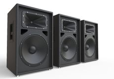 Three big loudspeakers. On white background royalty free stock photography