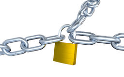 Three Big Metallic Chains Locked with a Padlock Stock Photography
