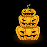 Three big orange Jack-O-Lantern Pumpkins Stock Image