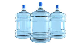 Three big plastic barrel, bottle with a handle for office water cooler. Stock Image