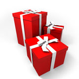 Three big red presents. Three Big red gift boxes with a white ribbons on a neutral background royalty free illustration