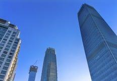 Three Big Skyscrapers World Trade Center Z15  Towers Beijing Chi. Three Big Skyscrapers China World Trade Center Z15  Towers Old Apartment Building Old New Stock Photography