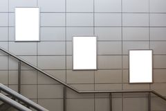 Three big vertical / portrait orientation blank billboard with stairs background royalty free stock photos