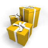 Three big yellow presents. Three Big yellow gift boxes with a white ribbons on a neutral background stock illustration