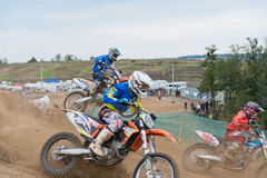 Three bikers racing Royalty Free Stock Photography
