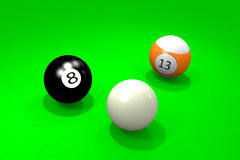 Three billiard balls Stock Photos