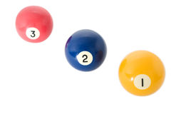 Three billiard balls. Close up on white background royalty free stock photo