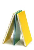 Three binder books isolated Royalty Free Stock Images