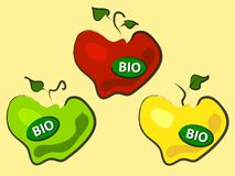 Three bio apples Royalty Free Stock Images