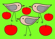 Three birds with apples Stock Photography