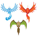 Three birds of elements. Royalty Free Stock Images