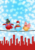 Three Birds on Wire City Skyline Christmas Scene. Three Birds on a Wire with Cityscape and Snowflakes Falling Christmas Scene Illustration Stock Photography