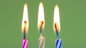 Three birthday candles stock video