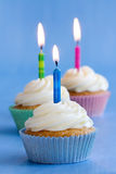 Three birthday cupcakes Royalty Free Stock Photo