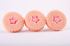 Three Biscuit sandwiches with strawberry cream Stock Photo