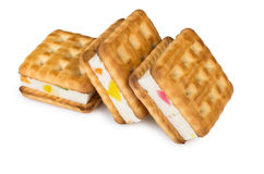 Three biscuits sandwiches with souffle Royalty Free Stock Images