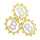 Three bitcoin cogwheel gears composition Stock Image