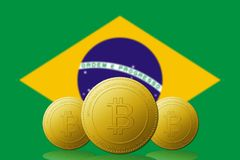 Three Bitcoin cryptocurrency with BRASIL flag on background.  stock illustration