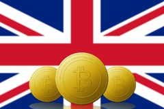 Three Bitcoin cryptocurrency with UNITED KINGDOM flag on background.  Stock Photos