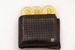 Three Bitcoin tokens coming out of a wallet, on white background. stock image