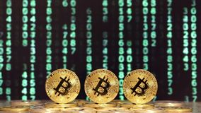 Three bitcoins with changed numbers in backgrounds stock footage