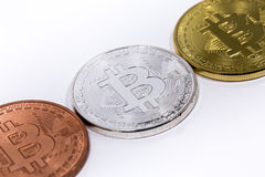 Three bitcoins Royalty Free Stock Images