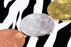 Three bitcoins Royalty Free Stock Photo