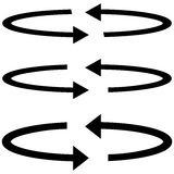 Three black arrows with part circles in flatness double direction. Royalty Free Stock Photography
