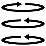 Three black arrows with part circles in flatness single direction. Royalty Free Stock Images
