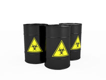 Three black barrels with biohazard Royalty Free Stock Image