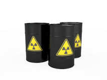 Three black barrels with radioactive symbol Royalty Free Stock Images