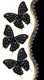 Three Black Butterflies with Diamonds Vertical Border Royalty Free Stock Photos