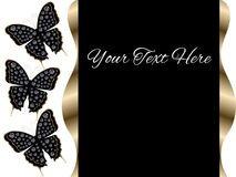 Three Black Butterflies Presentation Slide Background Stock Photo