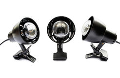 Three black clip lamps. Group of three clip lamps on white background Stock Image