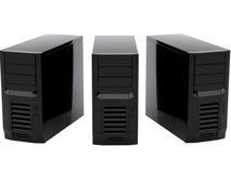 Three black computers Royalty Free Stock Photography