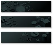 Black 3d banners with web symbols. Three black 3d banners with web symbols. Vector illustration Stock Images