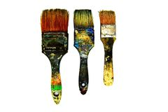 Three black dirty paintbrush be stained color isolated on white background. Royalty Free Stock Photography