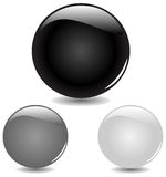 Three black glass buttons with drop shadows Stock Image