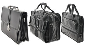 Three black leather bags isolated on white background. Set brief. Set black leather briefcases isolated on white background Vector Illustration