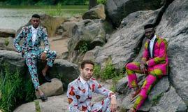 Three black male models Stock Photography