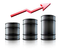 Three black metal oil barrels. Vector illustration of three black metal oil barrels   with a red arrow showing an increase of gasoline consumption or rise in a Royalty Free Stock Photo