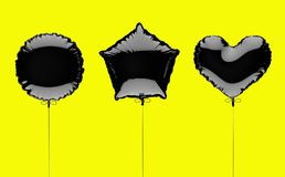 Three black metallized foil balloons on a yellow background. 3d render illustration.  Stock Image