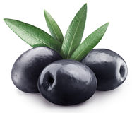 Three black olives. Royalty Free Stock Image