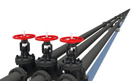 Three black pipes with valves Stock Photography