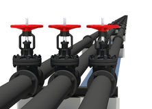 Three black pipes with valves Stock Images