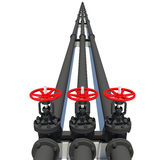 Three black pipes with valves Royalty Free Stock Photo